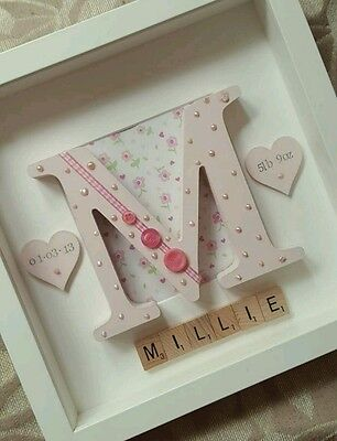 Personalised Framed Letter Name Picture - Gift Scrabble New baby Christening