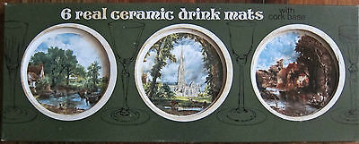 6 Ceramic Coasters Featuring John Constable Paintings Made In England New