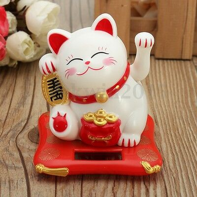 Solar Powered Waving Paw Welcome Fortune Cat Lucky Maneki Neko Home Car Decor