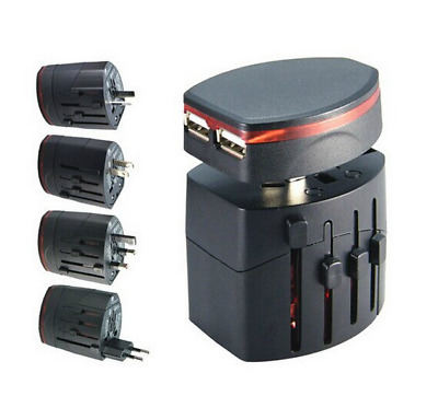 Universal World Travel Adapter Dual 2 USB Plug Charger AC Power AU NZ  EU UK US
