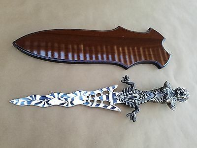"Emblazon of Knife 11"" BLADE Human Snake Handle Fantasy Knife with Display Board"