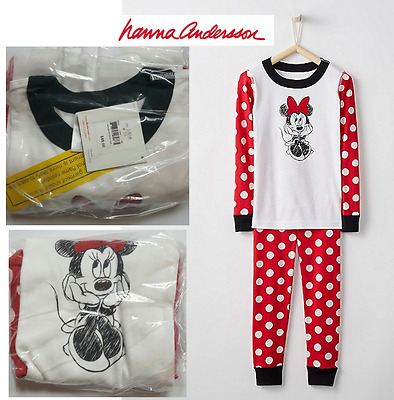HANNA ANDERSSON Disney Minnie Mouse Kids Long John Pajamas In Organic Cotton
