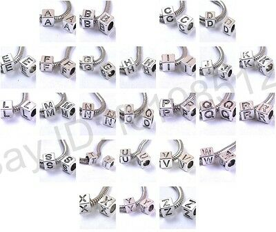 10Pcs Cube Tibetan silver Beads Letter Single Alphabet A-Z Charms Beads 7MM