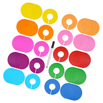 Blulu 50 Pieces Colored Blank Closet Size Dividers Round Clothing Rack Dividers