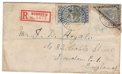 cover 3 Liberia 1918 Reg cover to London
