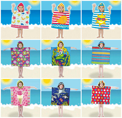 Boys Girls Kids Childrens Hooded Towel Poncho Pal Swim Beach Bath UV Protection