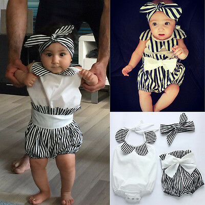 Newborn Infant Baby Girl Tops Romper+Short Pants+Headband 3PCS Outfit Clothes UK