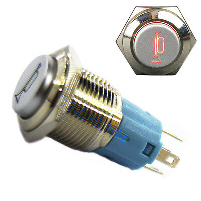 Horn Button Metal Switch Red LED Lighted Icon LED Momentary Pushbutton 12V 16mm