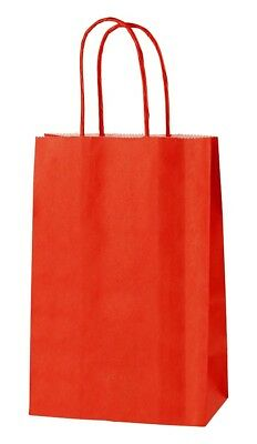 RED EXTRA SMALL PAPER PARTY BAGS WITH HANDLES GIFT BAGS  LOOT 14 x 21 x 8cm