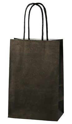 BLACK EXTRA SMALL PAPER PARTY BAGS WITH HANDLES GIFT BAGS  LOOT 14x21x8cm