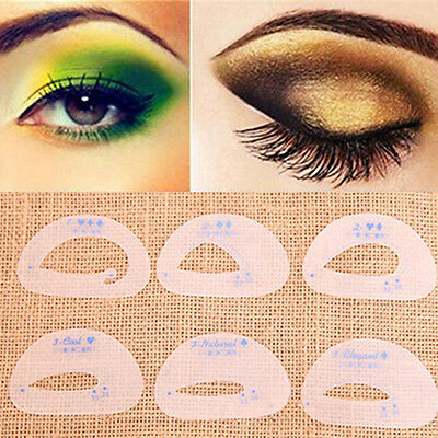 6pcs Eye SHADOW Stencil Eyeliner Template Eyebrow Beauty Makeup UK Seller