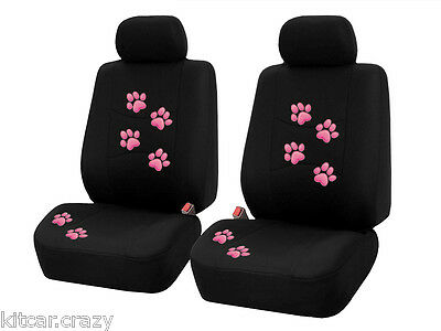 Summit Universal Car Seat Covers , 9 Piece, Black With Pink Paw Print