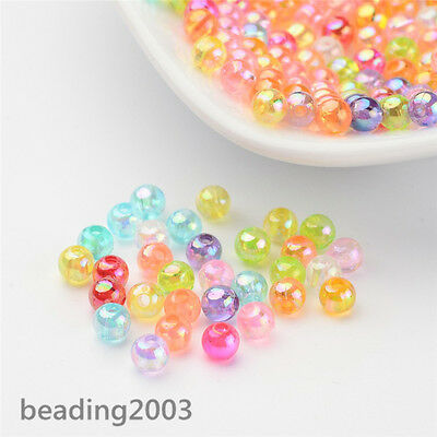 200pcs Transparent Plastic Acrylic Round Jewelry Beads AB Color Mixed Color 4mm