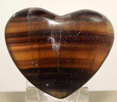 70mm Purple Orange Fluorite Puffy Heart Banded Sparkling Natural Crystal - China