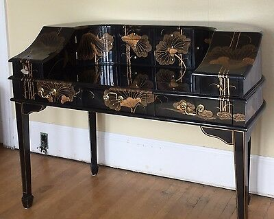 20th Century: Vintage Black Lacquer Chinoiserie CARLTON HOUSE Style Writing Desk