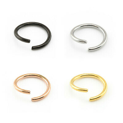 Fake Piercing Ring Nose Lip Ear Body SILVER, BLACK, GOLD Various Sizes & Gauges