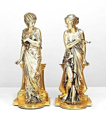 Pair of French Victorian Silvered and Gilt Bronze Classical Greek Female Figures