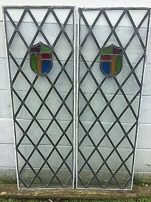 """2 ANTIQUE 48 PIECE LEADED STAINED FLAT GLASS TRANSOM 15 x 47 1/2"""" WINDOWS PICKUP"""