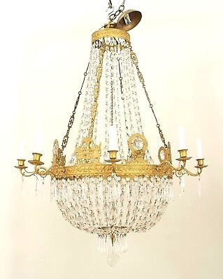 French Empire (circa 1810) Gilt Bronze and Cut Glass Chandelier