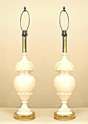 Pair of Italian Neo-Classic Style Urn Shaped and Carved Alabaster Table Lamps