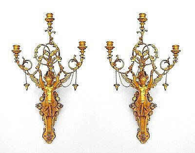 Pair of Italian Neo-Classic (1st qtr,19th Cent) Empire Gilt Wood Wall Sconces