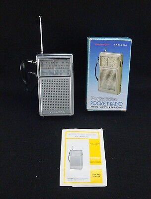 VINTAGE IN BOX Realistic Cat. No. 12-613A Portavision AM/FM/VHF TV Pocket Radio