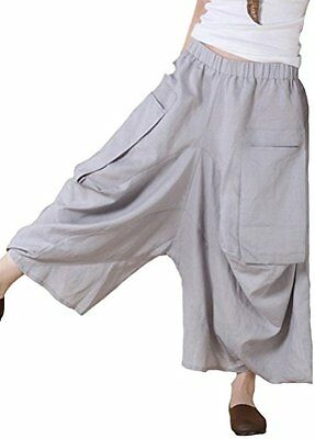 Minibee Women's Big Pockets Crotch Pants/Yogo Wide Leg Trousers Gray M, New