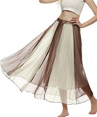 ACEVOG Women's Casual Chiffon Colorful Full Length Maxi Beach Skirt Brown Large