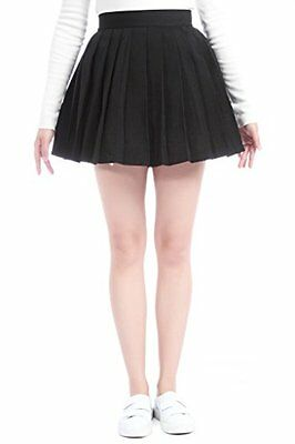 Lemail wig Women's High Waist Pleated School Plaid Skirts Black GC32A-L-3, New