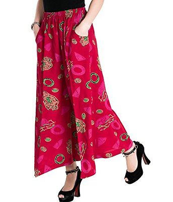 Womens Comfy Elastic Waist Cotton&Linen Floral Culottes Wide Leg Pants Color 21