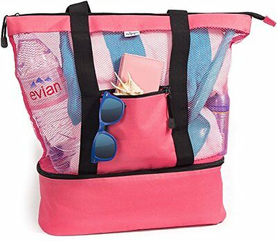 Pink Mesh Beach Tote Bag for Women w Insulated Picnic Cooler and Zipper Top Larg