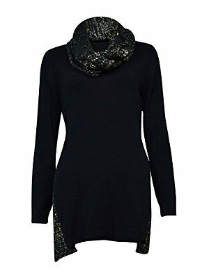 Style Womens Plus Sequined Knit Pullover Sweater Black 1X, New