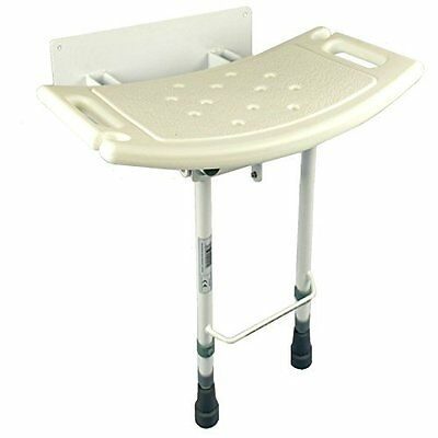 Elite Care ECSS05W Fold down wall mounted shower seat with legs, New