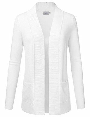 JJ Perfection Women's Solid Knit Open Front Cardigan With Pockets WHITE M, New