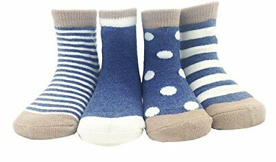 CHUNG Toddlers Little Boys Girls 5 Pack Cotton Crew Socks Stripe Jean Blue 1-3Y