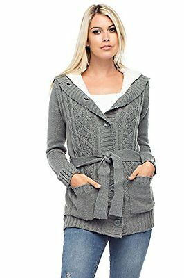 Betsy Red Couture Women's Cable Soft Sweater Cardigan with Hood M Heather Grey