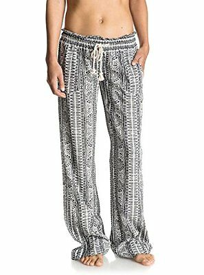 Roxy Junior's Oceanside Printed Beach Pant Marshmallow Sun Pyramid S, New