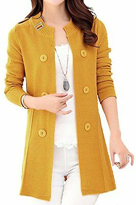 Asher Women's Loose Open Front Mid-long Knit Cardigan Sweater US M Yellow, New