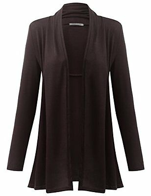 URBANCLEO Womens Long Sleeve Draped Open Front Cardigan BROWN L, New