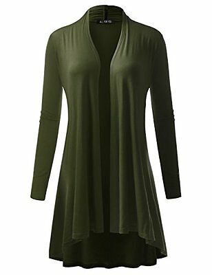 ALL FOR YOU Women's Extra Long Cardigan With Band Olive Large, New