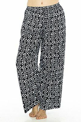 Wide Leg Crinkle Pant Black Ethnict M/L Womens Pants, New
