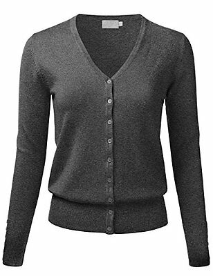 FLORIA Women Button Down V-Neck Long Sleeve Soft Knit Cardigan Sweater CHARCOALG