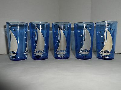 Vintage Hazel Atlas Cobalt Blue Depression Juice Glasses, Sailboat Pattern