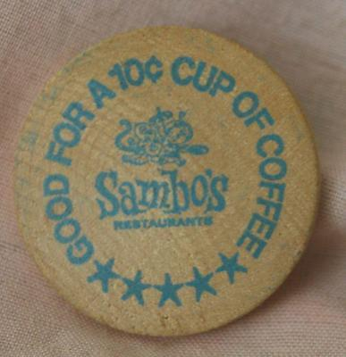 Vintage Wooden Nickel - Sambos Good for a 10 cent Cup of Coffee - Blue Print