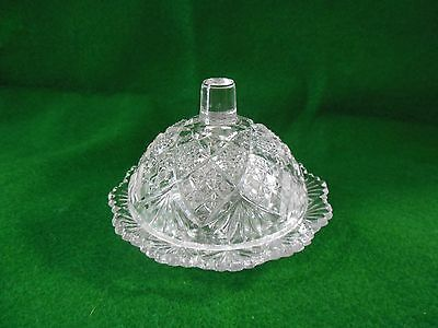 EAPG Child's Butter Dish Diamond Lattace Pattern