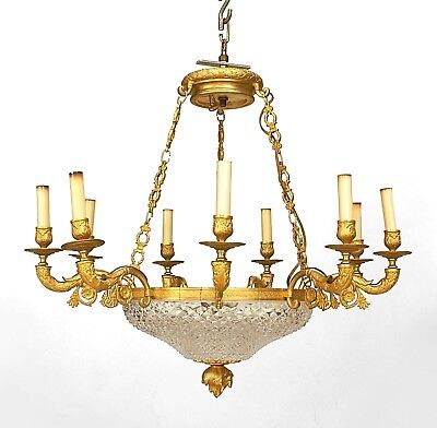 French Empire Style (Late 19th Cent.) Gilt Bronze Chandelier