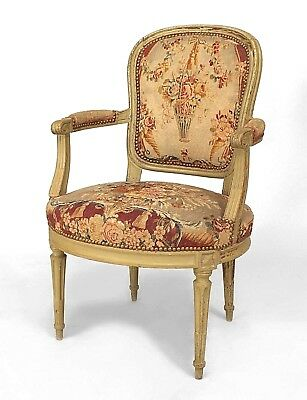 Louis XVI (circa 1795) Grey Painted Open Arm Chairs
