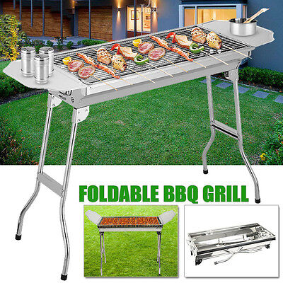 Portable Camping Stainless Steel Charcoal BBQ Oven Barbecue Grill Foldable Tool