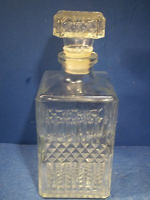 "VTG Decanter Liquor Diamond Pattern Clear Large 9"" Whiskey Glass EMPTY - FRANCE"