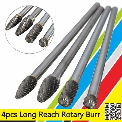 4Pcs Rotary Burr 1/4'' Shank 6'' inch Long Reach Double Cut Carbide Set Tool Kit
